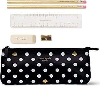 Kate Spade New York Pencil Case Including 2 Pencils, Sharpener, Eraser, and Ruler School Supplies, Polka Dots (Black/White)