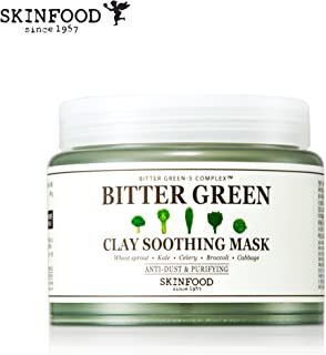 Skinfood Bitter Green Soothing Clay Facial Mask, Anti-Dust & Purifying Deep Pore Cleansing, Hydrating Clay Mask (145 g)