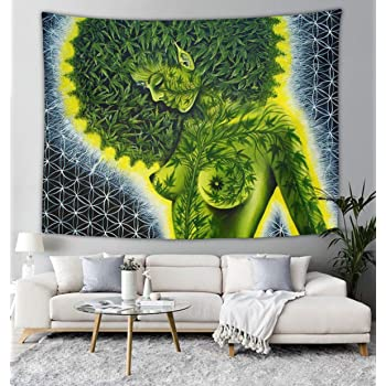 Beauty green marijuana weed leaf Wall Tapestry Hippie Art Tapestry Wall Hanging Home Decor Extra large tablecloths 40x60 inches For Bedroom Living Room Dorm Room