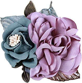 New Brooch Badge Boutonniere Cloth Gifts Camellia Flower Lapel Pin Popular QP | Color - Light Purple