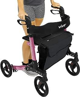 Vive Folding Rollator Walker - 4 Wheel Medical Rolling Walker with Seat & Bag - Mobility Aid for Adult, Senior, Elderly & Handicap - Aluminum Transport Chair (Pink)