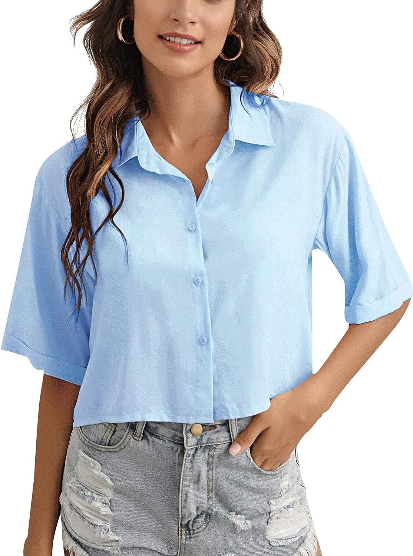 LYANER Women's Casual Collar Neck Button Down Rolled Half Short Sleeve Blouse Shirt Top