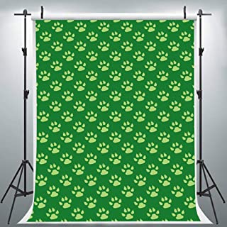 Green Paw Print Backdrop for Photography, 5x7FT, Puppy Dog Foot Print Background for Stylish Makeup Party, Photo Booth Studio Props LYLU267