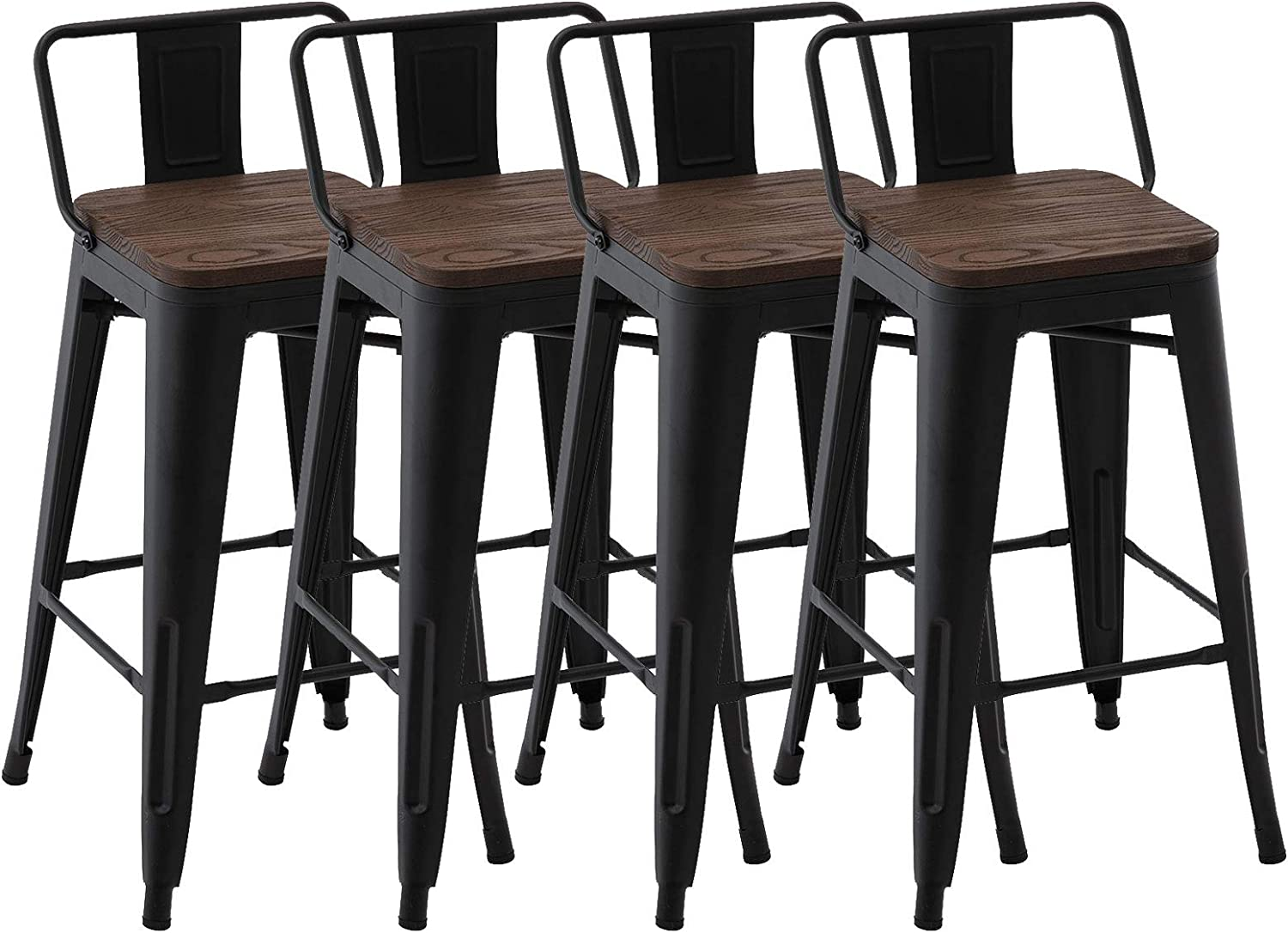 Max 89% OFF zhenghao Industrial 26 Inch Metal Bar Wood Seat 4 Year-end gift Set of Stools