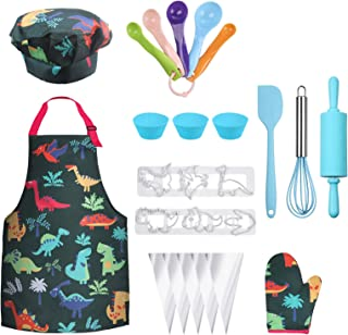 Anpro Complete Kids Cooking and Baking Set - 27 Pcs Includes Aprons for Girls, Chef Hat, Mitt & Utensil to Dress Up Chef C...