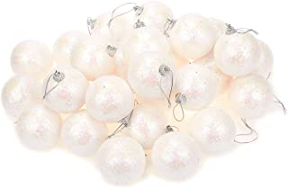 Juvale 28-Pack Christmas Tree Decorations - Glittery Hanging Xmas Ball Ornaments with Tinsel Covered Design - Perfect Festive DecorEmbellishments, 2.2, 2.6 x 2.2 Inches, White