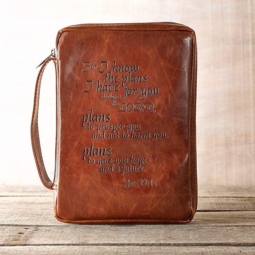 Vintage Leather-Look Jeremiah 29:11 Verse Bible / Book Cover (Large)