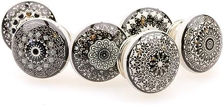 Möbelknopp möbelknopp möbelhandtag uppsättning av 6 100GN blandad svart mosaik – jay knapp keramik porslin handmålad vinta...