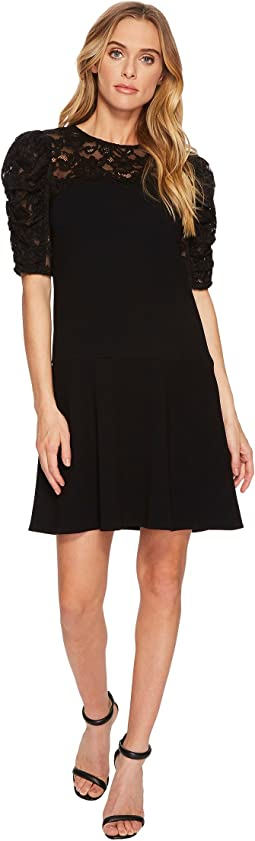 Rebecca Taylor - Short Sleeve Crepe Lace Dress