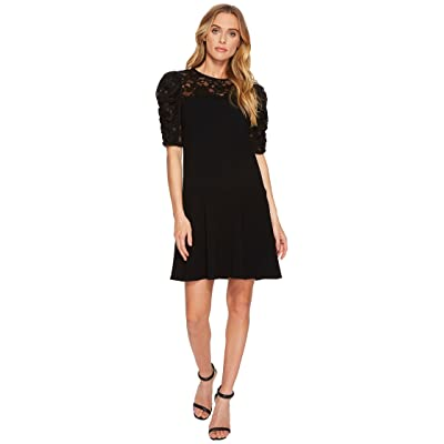 Rebecca Taylor Short Sleeve Crepe Lace Dress (Black) Women