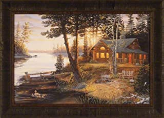 Last Embers by Terry Doughty 20x28 Log Cabin Sunrise Lake Ducks Bear Framed Art Print Wall Décor Picture