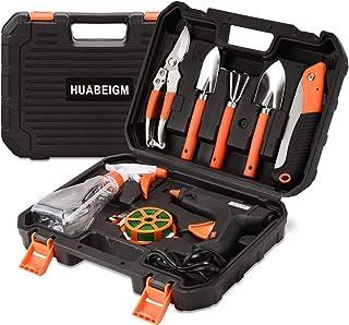 HUABEIGM Garden Tools Set, 9 Piece Heavy Duty Gardening Tool Set,Contains Hot Melt Glue Gun and Gardening Gifts for Women ...
