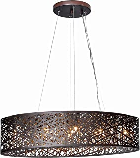 ET2 E21310-10BZ Inca 9-Light Linear Pendant, Bronze Finish, Cognac Glass, G9 Xenon Bulb, 62W Max., Wet Safety Rated, 3000K Color Temp., Shade Material, 960 Rated Lumens