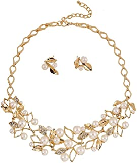 Shining Diva Fashion 18k Gold Plated Pearl Necklace Set/Jewellery Set with Fancy Earrings for Girls/Women