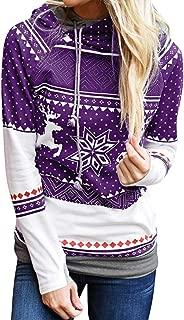 Women Christmas Hoodies Coat, Ladies Xmas Snowflake Printed Sweatshirt Pullover Blouse Tops