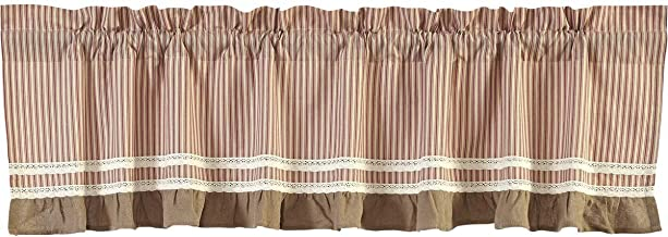 VHC Brands Classic Country Farmhouse Kitchen Window Curtains - Kendra Stripe White Valance, 19