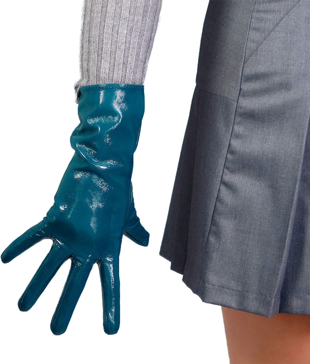 DooWay Lady Winter Warm Leather Driving Gloves PU Shine 28cm Teal Peacock Blue