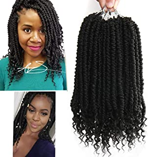 8 pcs/Pack Ombre Crochet Curly Wave Havana Mambo Senegalese Twist Hair Extension For Women 12 Roots/Pcs Synthetic Fluffy 12 Inch Spring Twist Crochet Braiding Hair (Black(1B#))