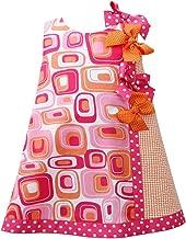 Infant 12-24 Months Girl Fuchsia-Pink Orange Dotted Bow Geometric Print Shift Dress