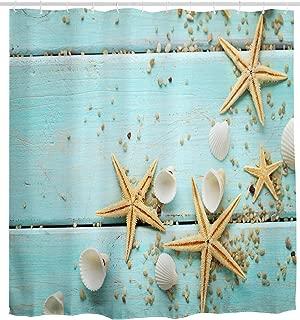 Mimihome Shower Curtain Starfish Beach, Seashell Rustic Turquoise Wooden Board Waterproof Bathroom Curtain Ocean Sea Theme Bath Curtain Bathroom Accessories with Hooks, 72W by 72H Inch