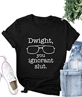 ZJP Women Dwight,You Ignorant Slut Letter Graphic Printed Solid Color Tee Tops