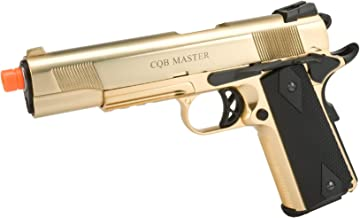 Evike - WE-USA Metal 1911 Railed Frame Heavy Weight Airsoft Gas Blowback Pistol - Gold Plated - (25024)