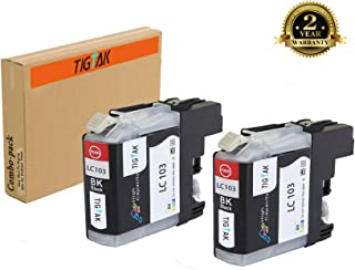 TigTak 2 Pack Replacement for Brother LC103 Compitable Black Ink Cartridge for Brother Printer MFC-J870DW,MFC-J450DW,MFC-J470DW,MFC-475DW,MFC-J245 (2 Pack Black)