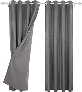 Deconovo Bathroom Window Fleece Thermal Insulated Grommet Top Curtains Kitchen for Nursery, 52x63Inch, Light Grey