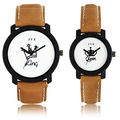 f8fb3a0fd00 JAY VIRU ENTERPRISE Quartz King and Queen Printed Analogue White Dial Men s  and Women s Couple Watch