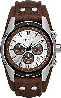 Fossil Men's Coachman Quartz Stainless Steel And Leather Casual Watch Color: Silver Black