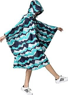 Women Rain Poncho Stylish Polyester Waterproof Raincoat Free Size with Hood Zipper Styles