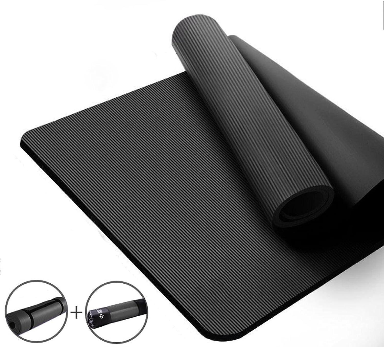 ANHPI Naturkautschuk Yogamatte 15mm Dick Mit Tragegurt Erweitert Und Verlngern Rutschfeste Tragbare Fitness Pilates Isomatte (185cm  90cm),schwarz