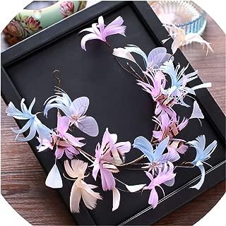 Super Fairy Blue Purple Pink Feather Flower Handmade Feather Headbands Girls Bridesmaids Bridal Headdress Headdress