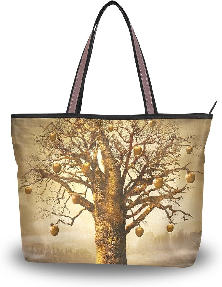 JSTEL Women Large Tote Top Handle Shoulder Bags Tree Of Life Patern Ladies Handbag