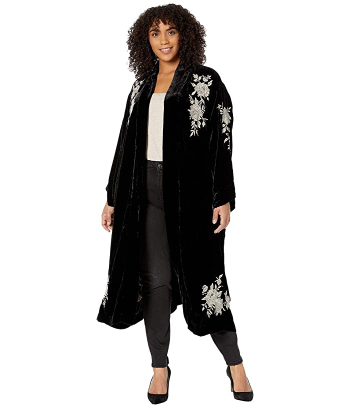 Vintage Coats & Jackets | Retro Coats and Jackets Johnny Was Plus Size Santal Velvet Kimono Coat Black Womens Clothing $199.00 AT vintagedancer.com