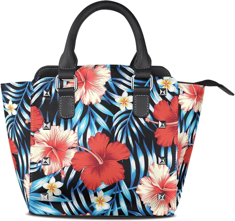 My Little Nest Women's Top Handle Satchel Handbag Red Pink Hibiscus Flower Ladies PU Leather Shoulder Bag Crossbody Bag