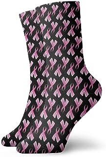 yting, Cáncer de mama Calcetines de vestir de cinta rosa Calcetines divertidos Calcetines locos Calcetines casuales para niñas Niños