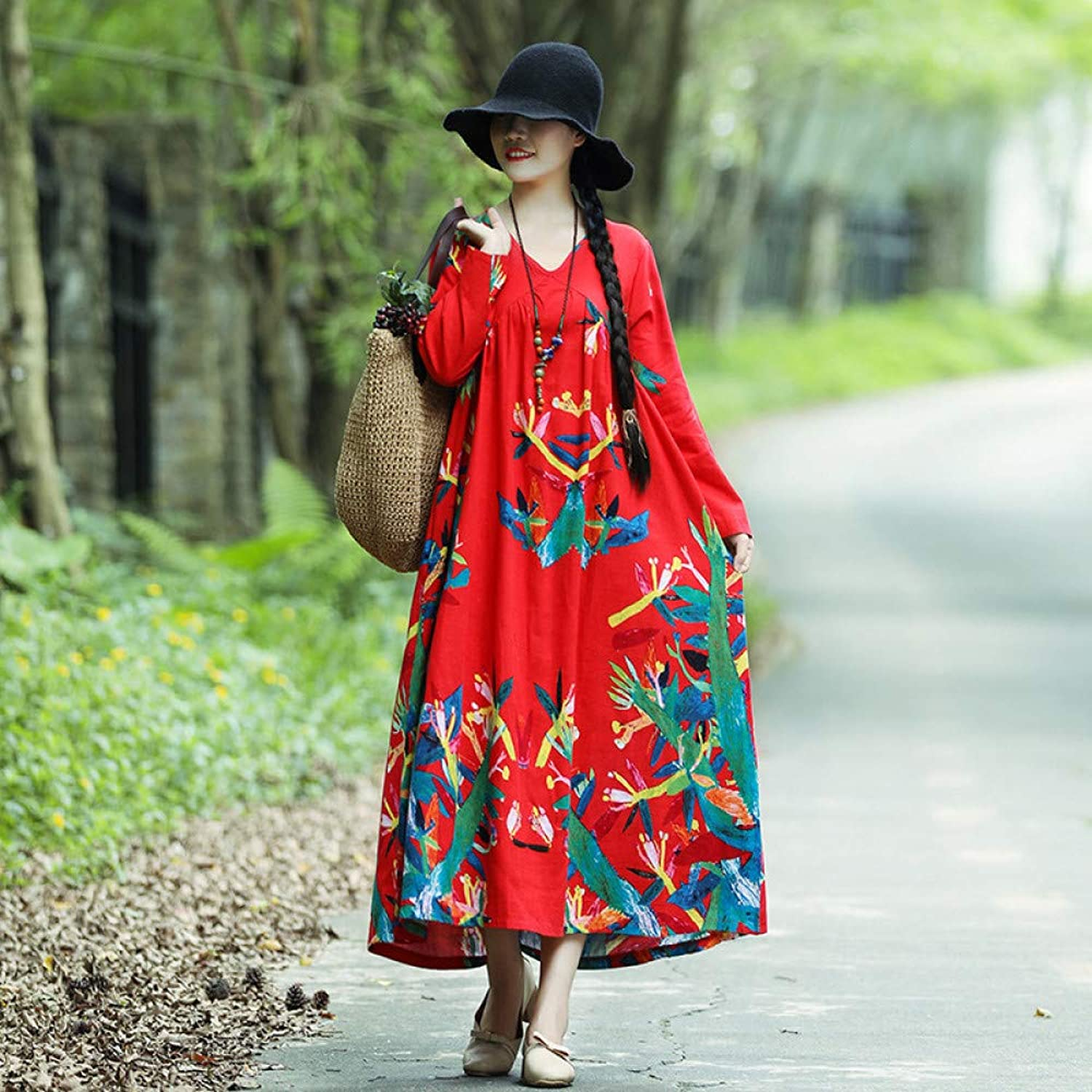 Cxlyq Dresses Cotton Leprosy Dress Female Long Sleeve Autumn Cotton Long Section Printed Skirt