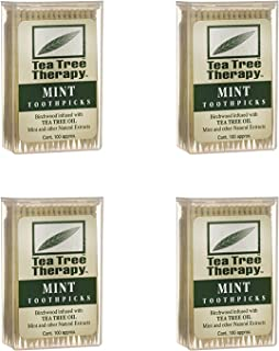 Tea Tree Therapy - Tea Tree & Menthol Toothpicks (100 Count) (4-Pack)