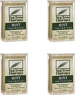 Tea Tree Therapy - Tea Tree & Menthol Toothpicks (100 Count) (4-Pack)