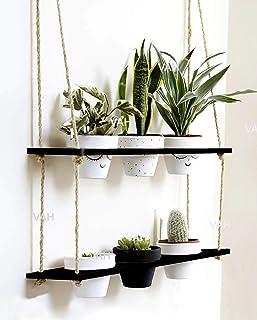 VAH Wood Hanging Planter Shelf Plant Hanger Decorative Flower Pot Rack with Rope (2 Tier Pot, Black)