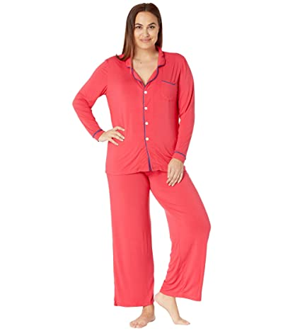 Kickee Pants Plus Size Collared Pajama Set (Flag Red/Navy) Women