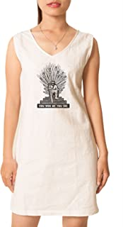 Iron Throne Of Westeros Printed Vintage V-neck Linen Mini Shift Dress WDS_02 18