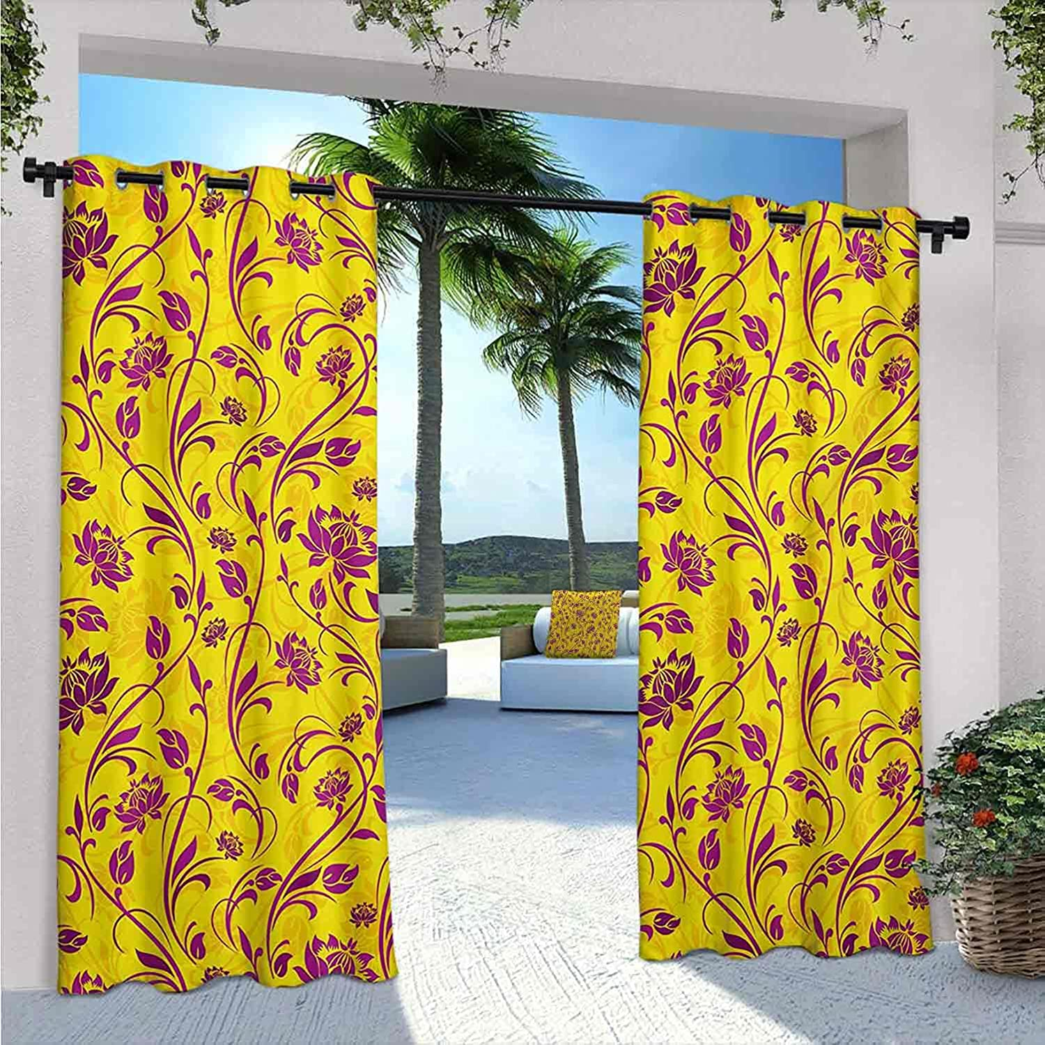 FloraOutdoor Patio Curtains All items free shipping Bombing free shipping Artistic Curvy S Ornamental Flowers
