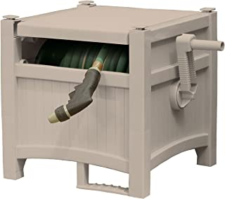 Suncast Resin Outdoor Hose Hideaway with Lid - Durable Hose Storage Reel with Crank Handle, EasyLink System, and Lid - 100' Hose Capacity - Taupe