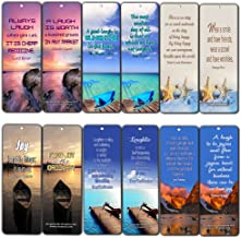 Creanoso Inspirational Sayings Bookmarks for Men Women (60-Pack) - Laughter and Joy Quotes - Positive Motivational Self Help Bookmarker Card - Best Encouragement Set
