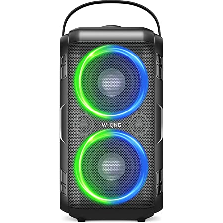 Bluetooth Speaker, W-KING 80W Super Punchy Bass, Huge 105dB Sound Portable Wireless Speakers, Mixed Color LED Lights, 12000mAH Battery, Bluetooth 5.0, USB Playback, Loud for Party, Non-Waterproof