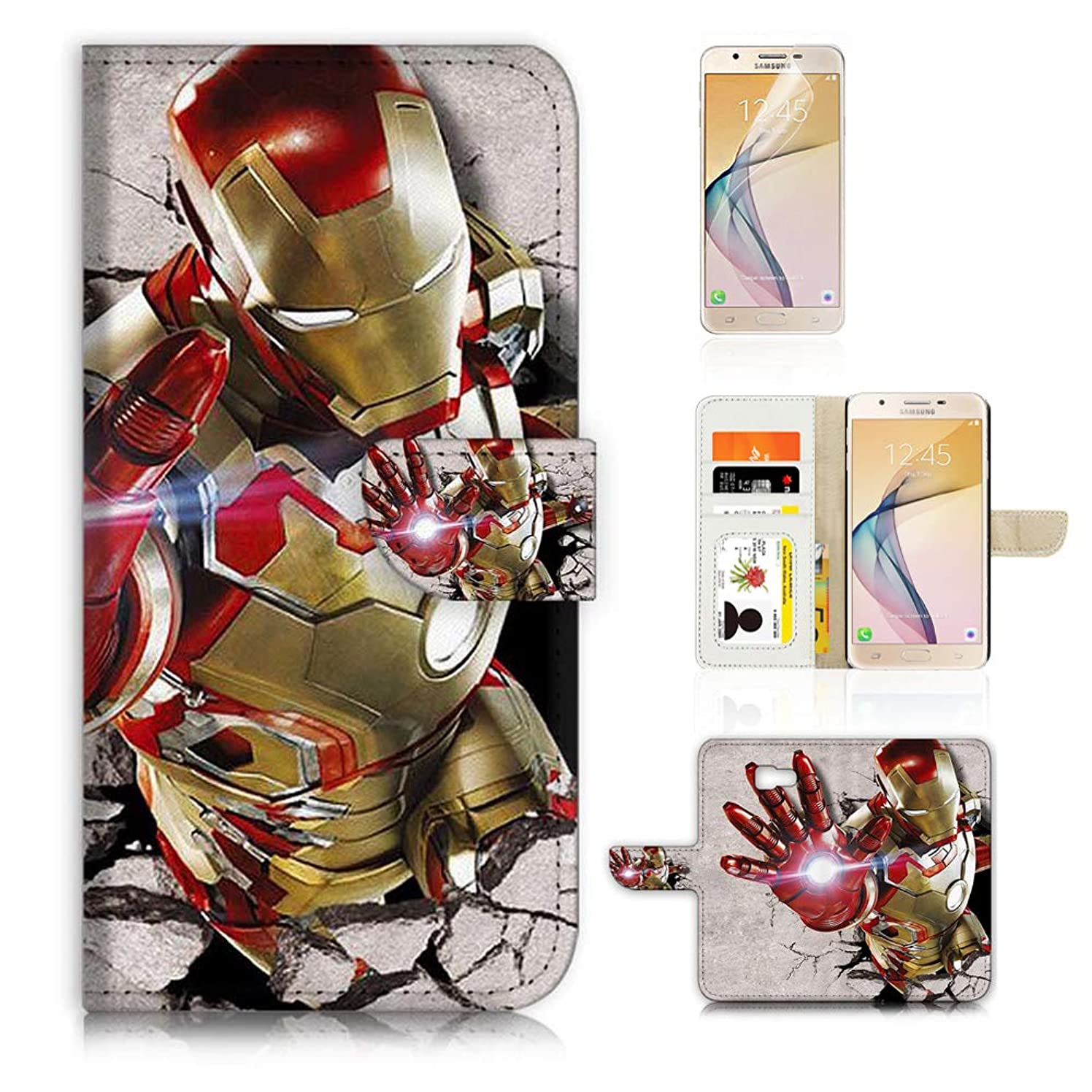 (for Samsung J7 Prime / J7 V / J7 Perx / J7 2017 / J7 Sky Pro/Galaxy Halo) Flip Wallet Case Cover & Screen Protector Bundle - A21689 Ironman