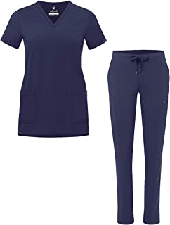 Adar Addition Go-Basic Scrub Set for Women - Slim V-Neck Scrub Top & Skinny Cargo Scrub Pants