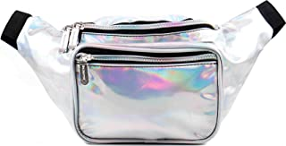SoJourner Holographic Rave Fanny Pack - Packs for festival women, men | Cute Fashion Waist Bag Belt Bags (Silver)
